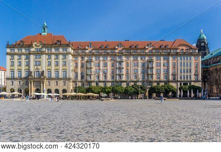 Dresden, Germany - September 11, 2020: Historic Buildings At The Altmarkt Square In Dresden, Germany