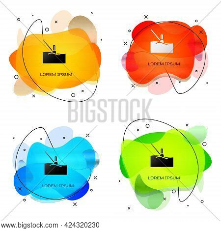 Black Fishing Float In Water Icon Isolated On White Background. Fishing Tackle. Abstract Banner With