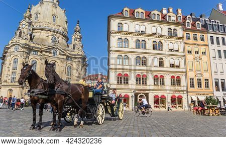 Dresden, Germany - September 11, 2020: Panorama Of Horses And Carriage At The Neumarkt Square In Dre