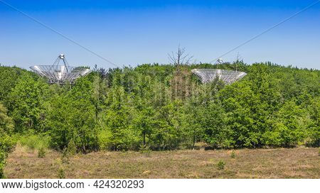 Radio Telescope Dishes In Nature Area Holmers-halkenbroek In Drenthe, Netherlands