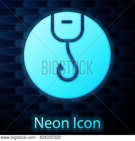 Glowing Neon Fishing Hook Icon Isolated On Brick Wall Background. Fishing Tackle. Vector