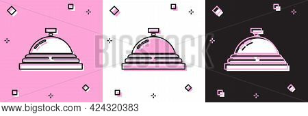 Set Hotel Service Bell Icon Isolated On Pink And White, Black Background. Reception Bell. Vector