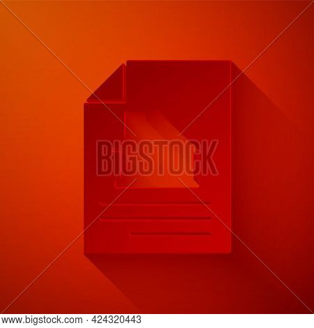 Paper Cut House Contract Icon Isolated On Red Background. Contract Creation Service, Document Format