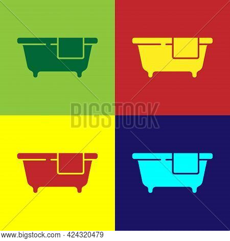Pop Art Bathtub Icon Isolated On Color Background. Vector