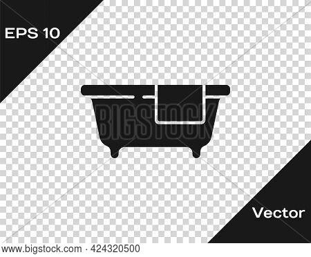 Black Bathtub Icon Isolated On Transparent Background. Vector