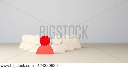 Group Of Wooden Figures Lead By Red Figure On Wooden Table, Management, Teamlead, Leadership Or Team