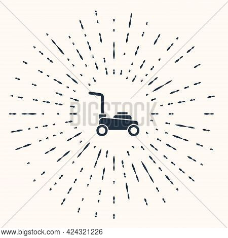 Grey Lawn Mower Icon Isolated On Beige Background. Lawn Mower Cutting Grass. Abstract Circle Random