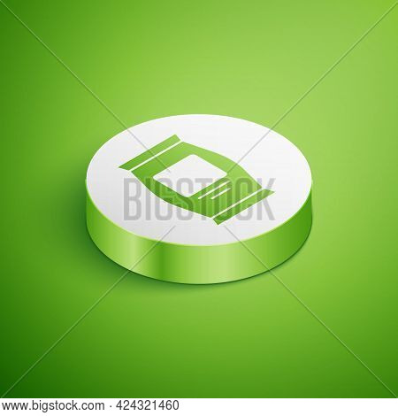 Isometric Fertilizer Bag Icon Isolated On Green Background. White Circle Button. Vector