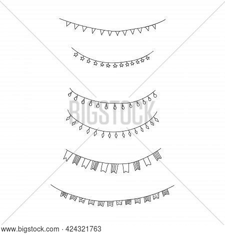 Hand Drawn Vector Illustration Of Set Of Party Celebration Garlands, Flags And Lights. Cartoon Doodl