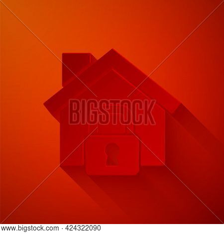 Paper Cut House Under Protection Icon Isolated On Red Background. Home And Lock. Protection, Safety,