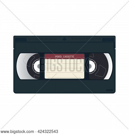 Retro Style Realistic Video Cassette Front Side With Label. Vhs Cassette Realistic Case Design. Film