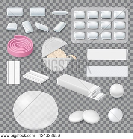 Chewing Gum Mockups, Stripes, Tablets In Blister Pack And Roll In Container. Realistic Vector Bubble