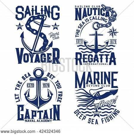 Anchor, Nautical Sailing T Shirt Prints With Sea Waves, Yacht Club And Ocean Fishing Vector Icons. S