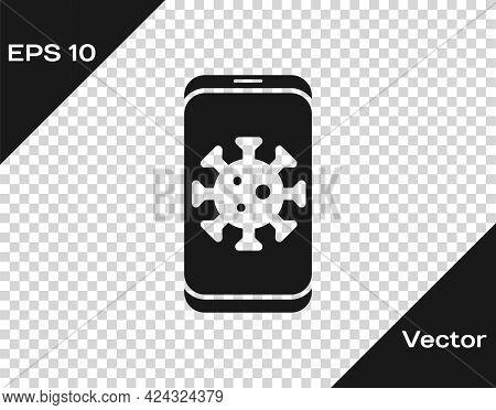 Black Virus Statistics On Mobile Icon Isolated On Transparent Background. Corona Virus 2019-ncov. Ba