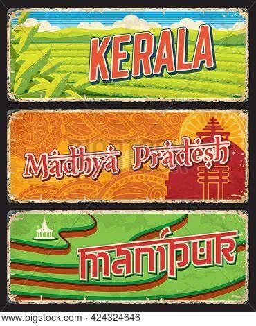 Kerala, Madhya Pradesh And Manipur States Of India Vector Vintage Plates. Indian Tea Plantation Of M