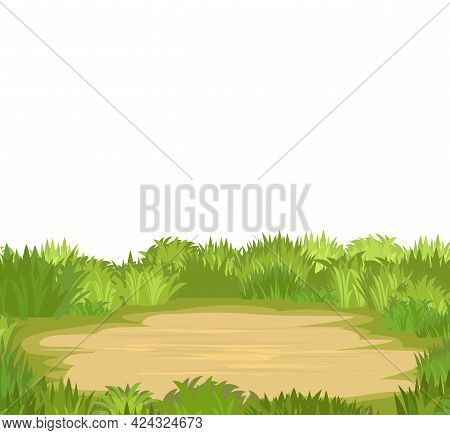 Glade. Place In A Meadow. Grass Close-up. Beautiful Green Rural Landscape. Isolated. Cartoon Style.