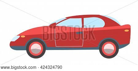 Car. Cartoon Comic Funny Style. Side View. Beautiful Red Automobile. Auto In Flat Design. Childrens