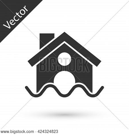 Grey House Flood Icon Isolated On White Background. Home Flooding Under Water. Insurance Concept. Se