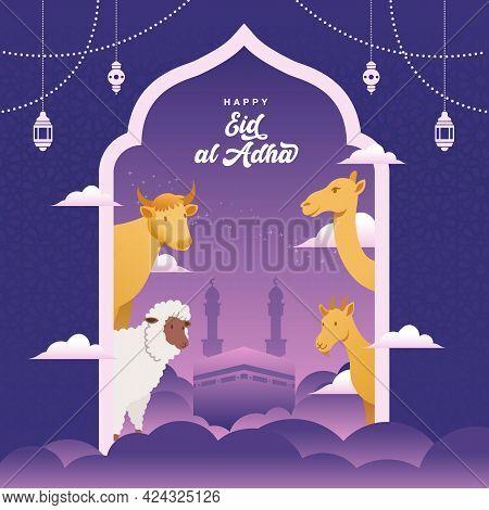 Eid Al Adha Freeting Card With Sacrifice Animal, Goat, Sheep,cow And Camel For Eid Al Adha Mubarak C