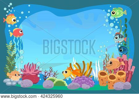 The Bottom Of The Reservoir With Fish. Blue Water. Sea Ocean. Underwater Landscape With Animals, Pla