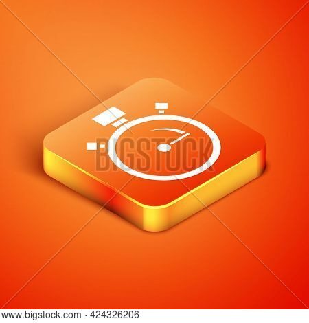 Isometric Stopwatch Icon Isolated On Orange Background. Time Timer Sign. Chronometer Sign. Vector