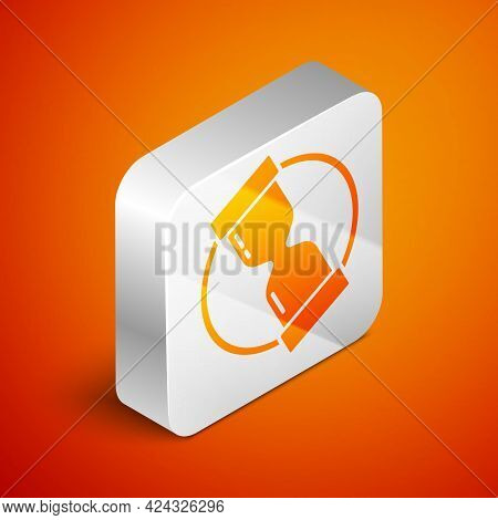 Isometric Old Hourglass With Flowing Sand Icon Isolated On Orange Background. Sand Clock Sign. Busin