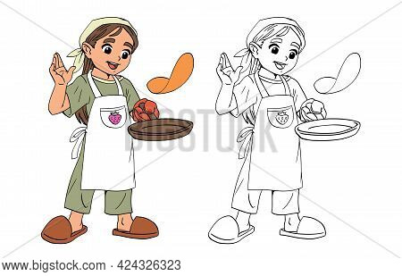 Girl Chef Prepares Pancakes Food In A Frying Pan. Set Of Black Line And Painted Chef Character. A Ch