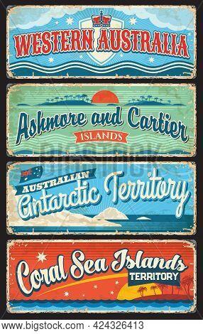 Western Australia, Antarctic Territory, Coral Sea, Ashmore And Cartier Islands, Australian States Vi