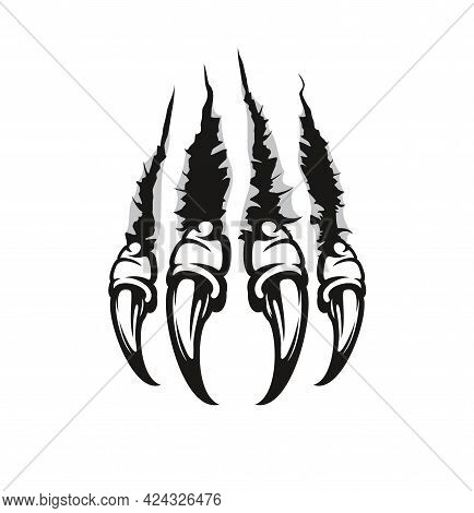 Monster Claw Marks And Scratches, Wild Beast Animal Torn Cracks, Vector. Monster Beast Or Werewolf C