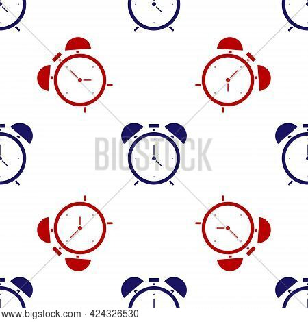 Blue And Red Alarm Clock Icon Isolated Seamless Pattern On White Background. Wake Up, Get Up Concept