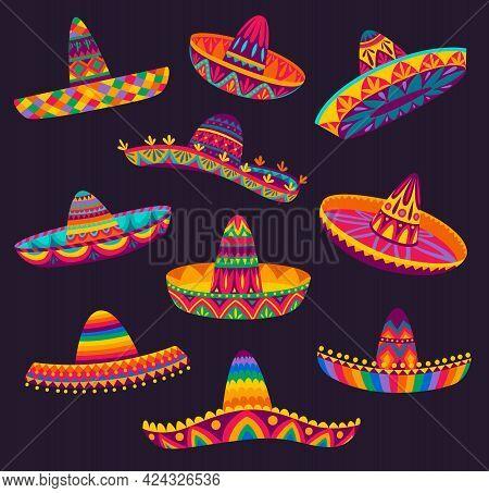Cartoon Mexican Sombrero, Vector Hats Of Mariachi Musicians, Latin Men Or Cowboy Charro. Mexican Par