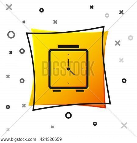 Black Alarm Clock Icon Isolated On White Background. Wake Up, Get Up Concept. Time Sign. Yellow Squa