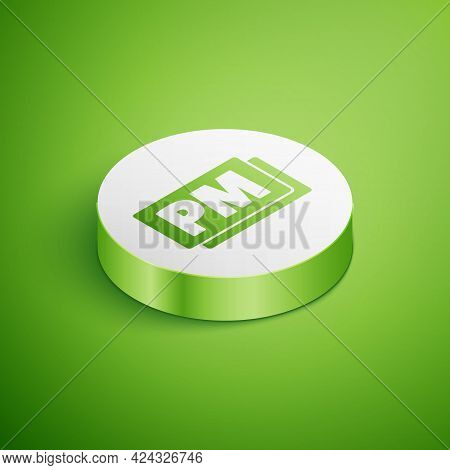 Isometric Clock Pm Icon Isolated On Green Background. Time Symbol. White Circle Button. Vector