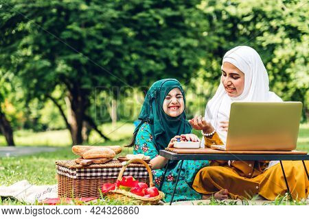 Portrait Of Happy Religious Enjoy Happy Love Asian Family Arabic Muslim Mother And Little Muslim Gir