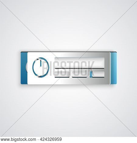 Paper Cut Car Audio Icon Isolated On Grey Background. Fm Radio Car Audio Icon. Paper Art Style. Vect