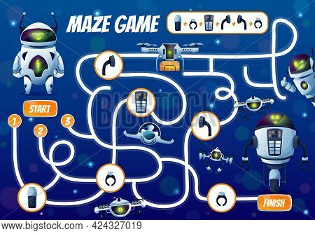Fix The Robot Vector Kids Maze Game Or Start To Finish Labyrinth. Children Education Puzzle, Riddle