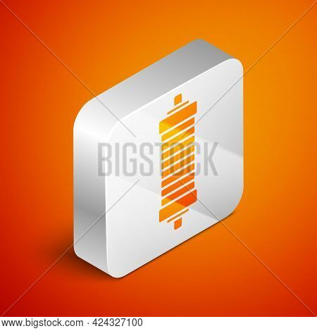 Isometric Shock Absorber Icon Isolated On Orange Background. Silver Square Button. Vector