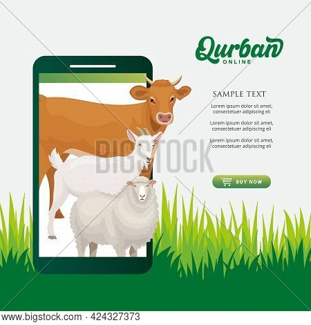 Online Qurban Mobile Application Concept. Illustration Of A Smart Phone With Sacrificial Animal For