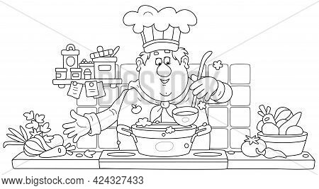 Funny Chef Cooking An Original Tasty Soup With Fresh Vegetables And Spices In His Cozy Kitchen, Blac