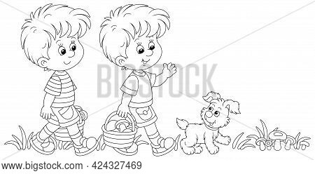 Little Kids Mushroomers And Their Merry Pup Walking With Baskets And Gathering Mushrooms In A Summer