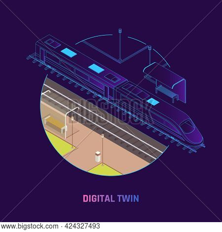 Rail Network Digital Twin Technology Railway Operations Speed Train Virtual Replica Design Isometric