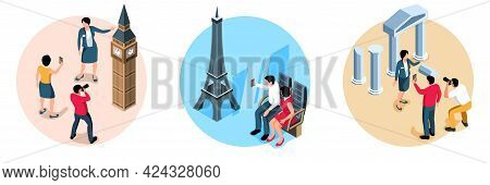 Excursion Design Concept Set Of Three Isolated Compositions With Tour Guides And Tourists Isometric