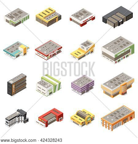 Shopping Mall Icons Set With Retail Shopping And Selling Symbols Isometric Isolated Vector Illustrat