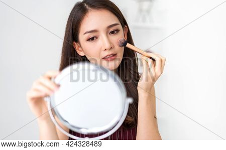 Smiling Of Young Beautiful Pretty Asian Woman Clean Fresh Healthy White Skin Looking At Camara.asian