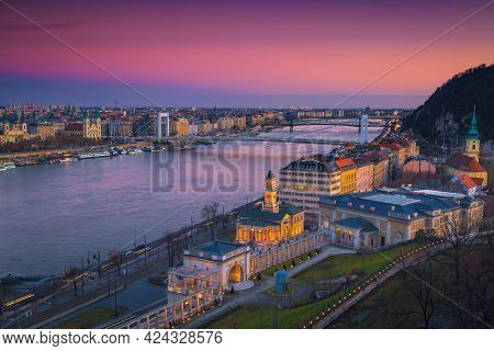 Majestic European Travel Location. Great Cityscape Panorama With Elisabeth Bridge And Danube River A