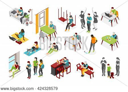 Loneliness Isometric Icons Set Of Adult Persons And Children Experiencing Fear Of Being Alone Isolat