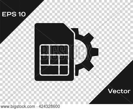 Black Sim Card Setting Icon Isolated On Transparent Background. Mobile Cellular Phone Sim Card Chip.