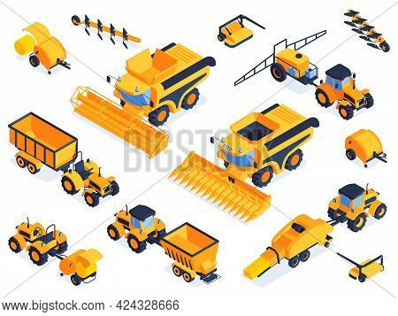 Isometric Agricultural Color Set Of Machinery And Vehicles For Field Farm Work Isolated Vector Illus