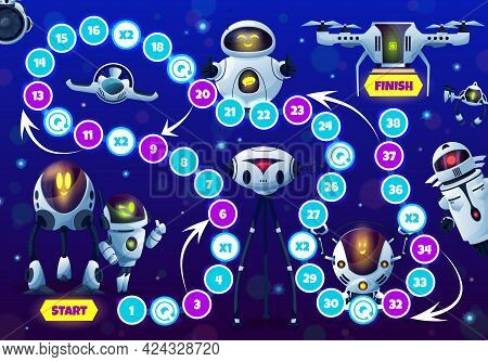 Kids Game With Robots And Droids, Vector Step Boardgame With Block Path, Numbers, Start, Finish And