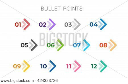 Colourful Arrows Set Isolated. Direction Number Bullet Points From One To Twelve.